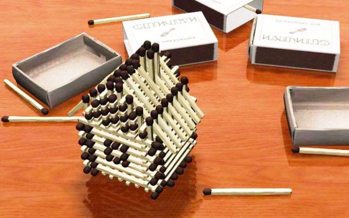 Как построить домик из спичек