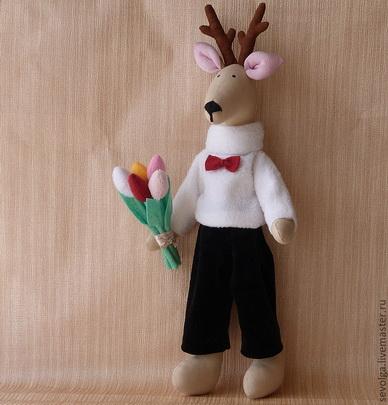 кукла в стиле тильда олень