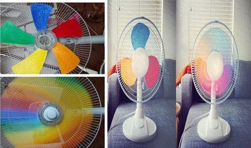 вентилятор с разноцветными лопастями