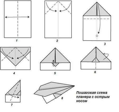 Как сделать самолёт из бумаги? 18 способов! Схемы, фото, видео.