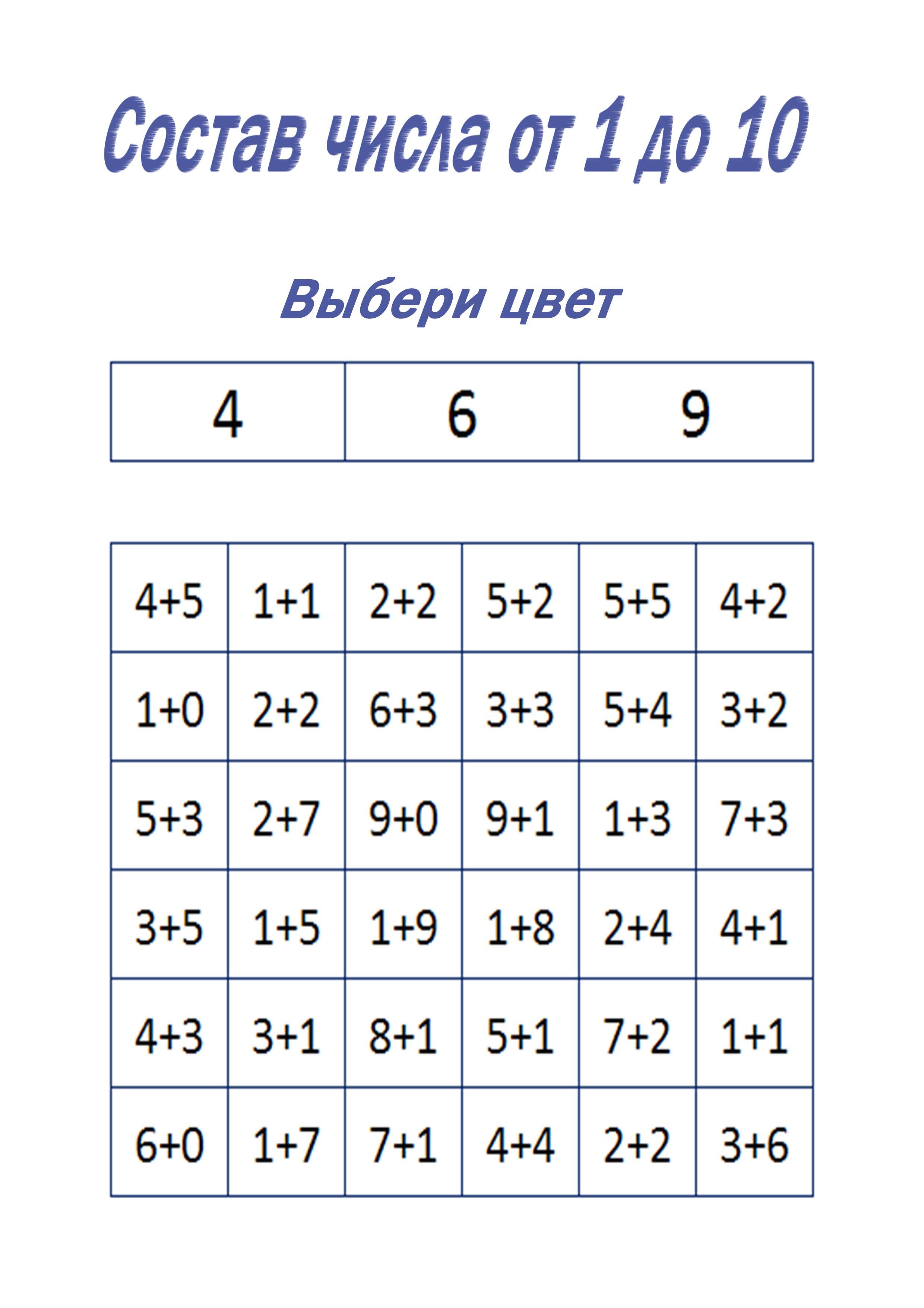 Картинка числа от 1 до 20